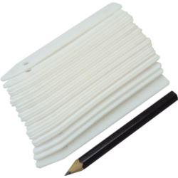 GR5021 Etykiety plastikowe 25szt paski + ołówek